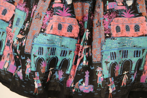 Vintage 1950's Cotton Mexican Novelty Print Circl… - image 3