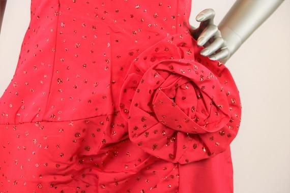 Vintage 1980's Gunne Sax Red Strapless Glitter Dr… - image 1