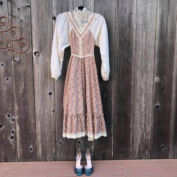 1970's Prairie Gunne Sax Floral Maxi Dress With La