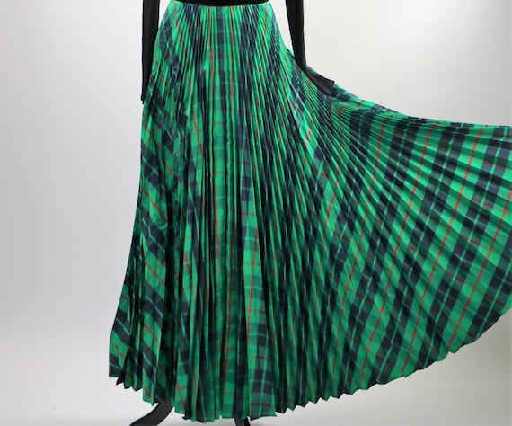 Vintage 1970's Green Plaid Pleated Maxi Skirt wit… - image 6