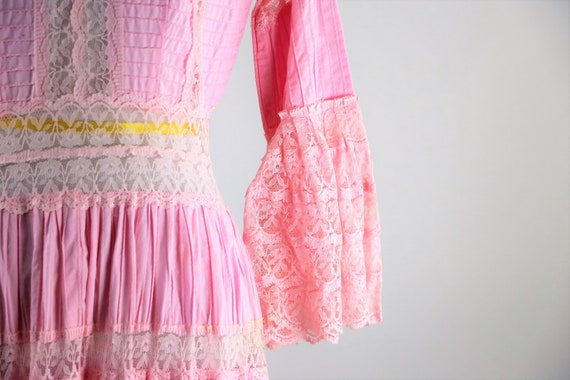 Vintage 1970's Pink Pintuck Mexican Lace Wedding D