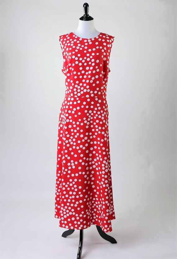 Vintage 1980's Plus Size Pinup Red & White Polka D