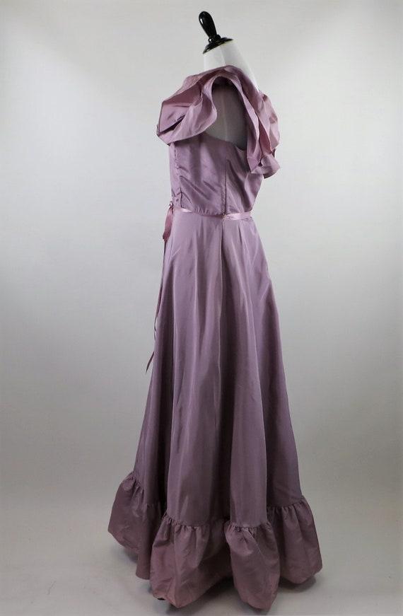 Vintage 1970's Pastel Mauve / Lilac Purple Gown W… - image 6
