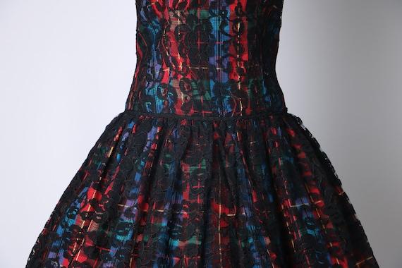 Vintage 1980's Multi-Colored Rainbow Plaid Dress w