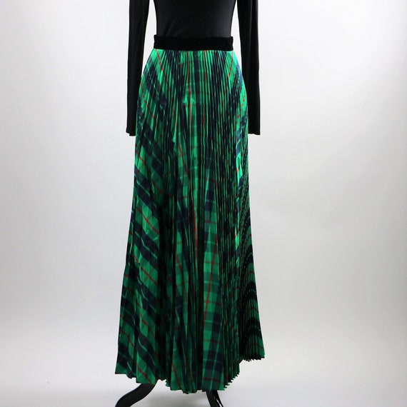 Vintage 1970's Green Plaid Pleated Maxi Skirt wit… - image 4