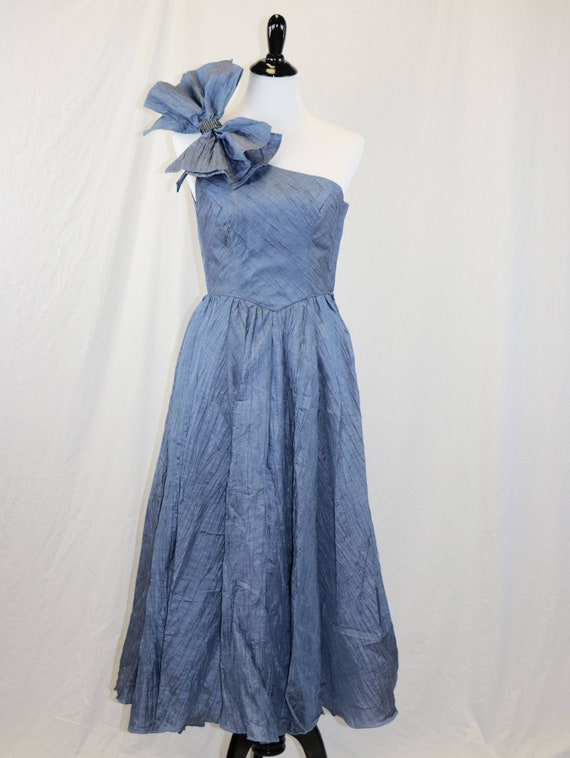 Vintage 1980's Denim Blue One Shoulder Grecian Sty