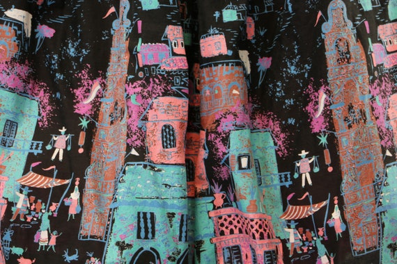 Vintage 1950's Cotton Mexican Novelty Print Circl… - image 8