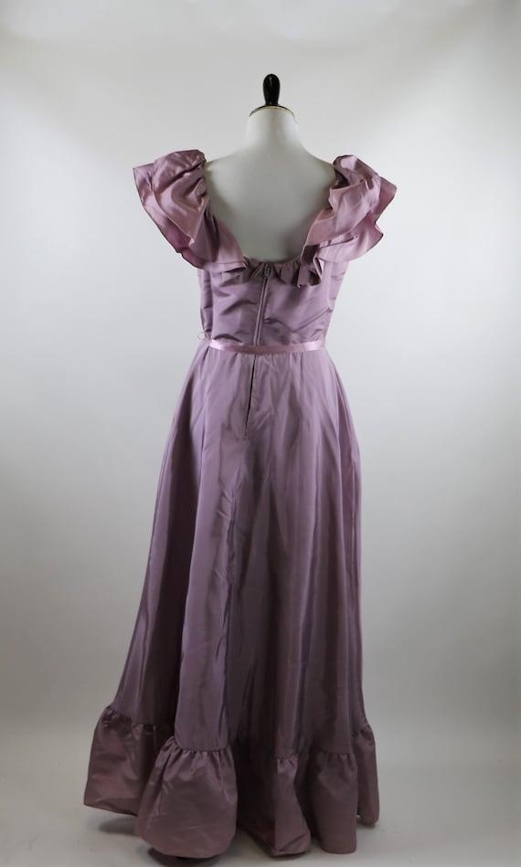 Vintage 1970's Pastel Mauve / Lilac Purple Gown W… - image 7