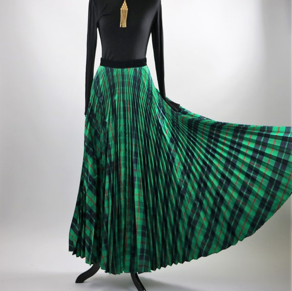 Vintage 1970's Green Plaid Pleated Maxi Skirt wit… - image 5