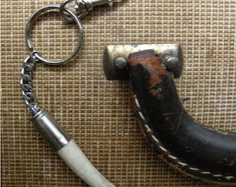 Antler tip bullet shell keychain key chain rustic recycled horn bone punk vintage bag purse charm fathers day deer