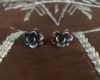 Succulent flower sterling silver earrings posts studs floral cast 925 real plants organic botanical detailed nature small dainty wedding