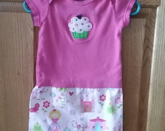 Toddler shirt dress. Size 3-6 months. Princess & Cup Cake.
