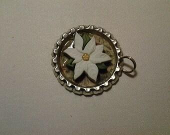 White Poinsetta Bottlecap pendant or charm