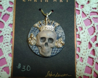 King of Skulls Artisan Clay Pendant is hauntingly GOTHIC!