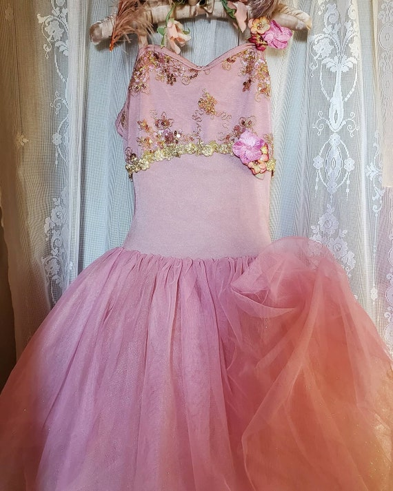 Vintage Pink & Gold French Ballet Ball  Dress/Cost