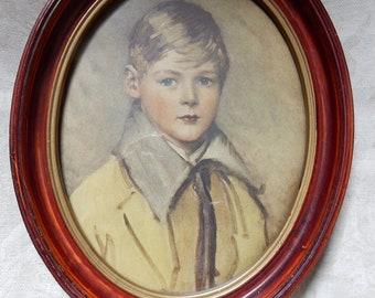 Vintage Timeworn Framed Portrait of a Young Boy/ Peter