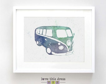 9181c7f97fb Retro Kombi Watercolor Illustration Blue and Green Print - Vintage Car Poster  Art