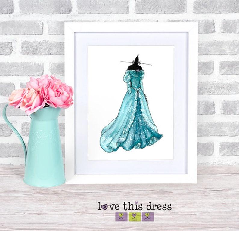 Ariel Green Dress Print Little Mermaid Gifts Little Etsy