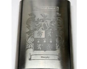 Heraldic Tabard Design Republic of China Emblem Stainless Steel Hip Flask