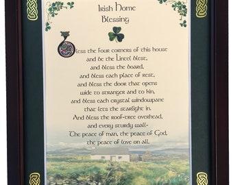 "Solid Oak /""Bless this Irish Home/""  w//Celtic Cross"