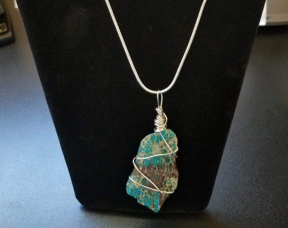Wire-wrapped Blue-Dyed Imperial Jasper Stone with 16 inch silver plated chain and 2 inch extender