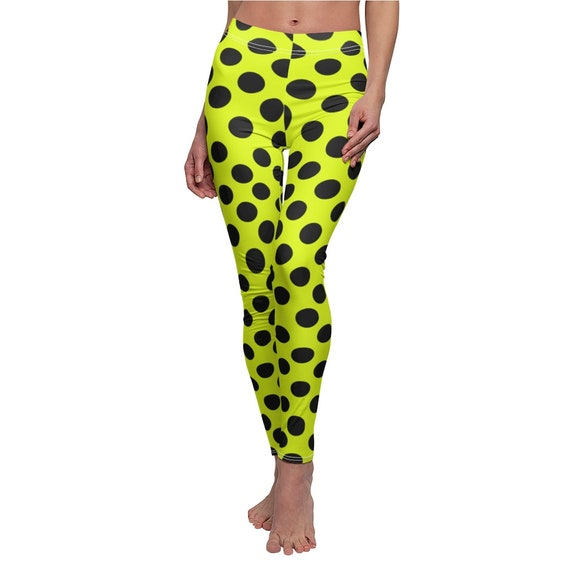 Crazy Yellow & Black Polka Dot Skinny Casual Leggings