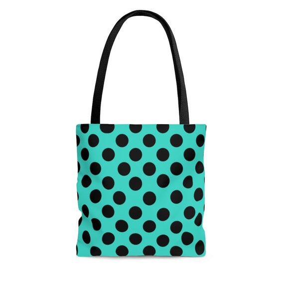 Turquoise with Black Polka Dots  - Tote Bag