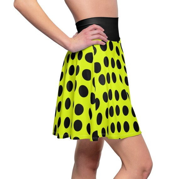 Yellow with Black Polka Dots and a Black Waistband Skater Skirt