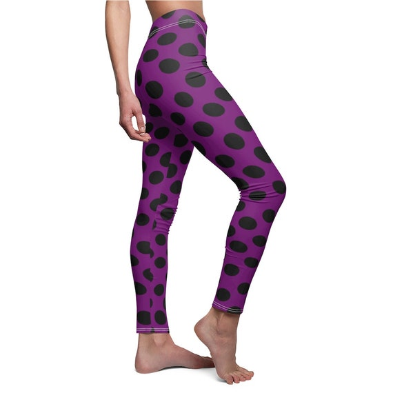 Purple and  Black Dots Skinny Casual Leggings