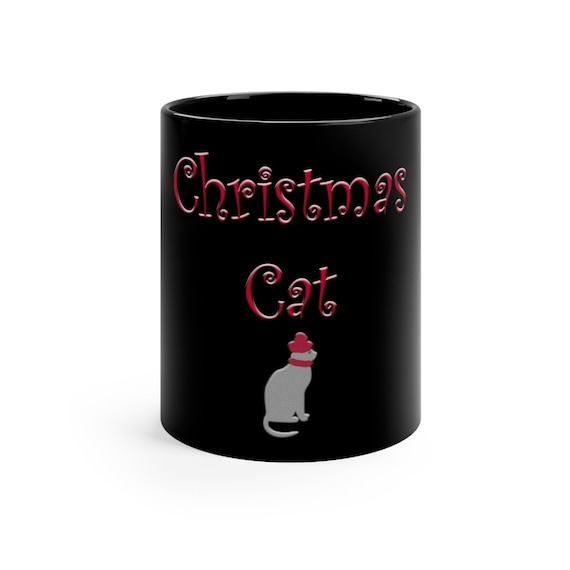 Christmas Cat  Mug Black mug 11oz
