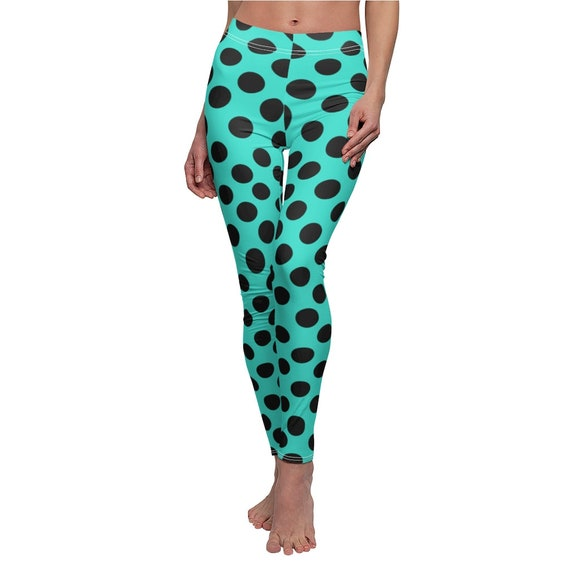 Turquoise with Black Polka Dots Skinny Casual Leggings