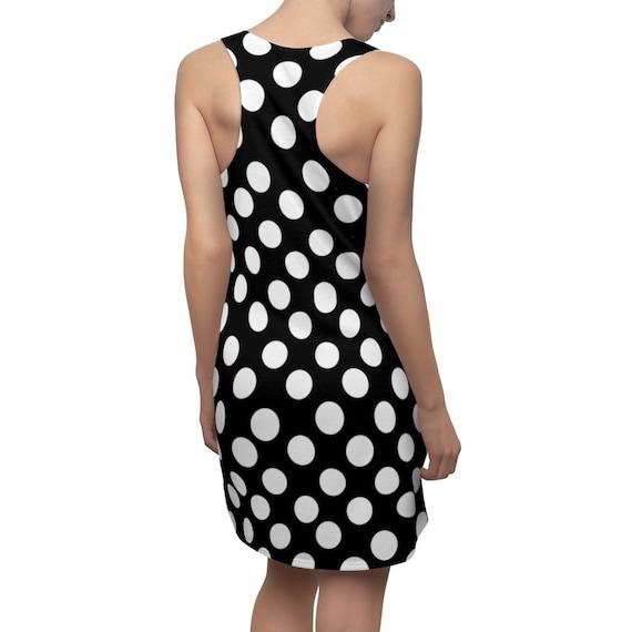 Black with White Polka Dots Racerback Dress