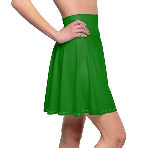 Women's Plain Jane Green Skater Skirt