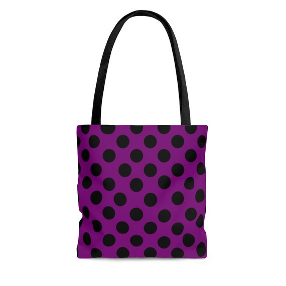Purple with Black Polka Dots - Tote Bag