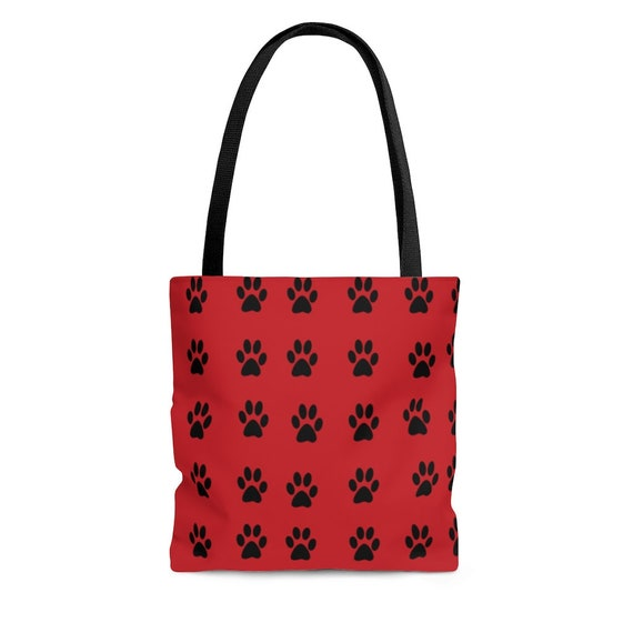 Flame Red with Black Paw Prints - Tote Bag