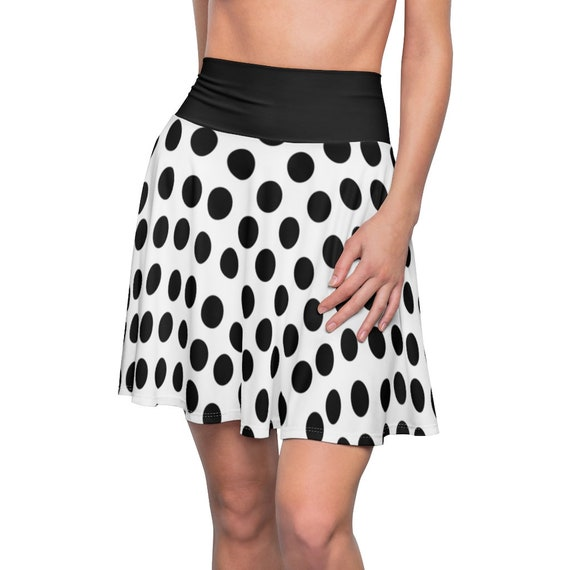 White with Black Polka Dots and a Black Waistband Skater Skirt
