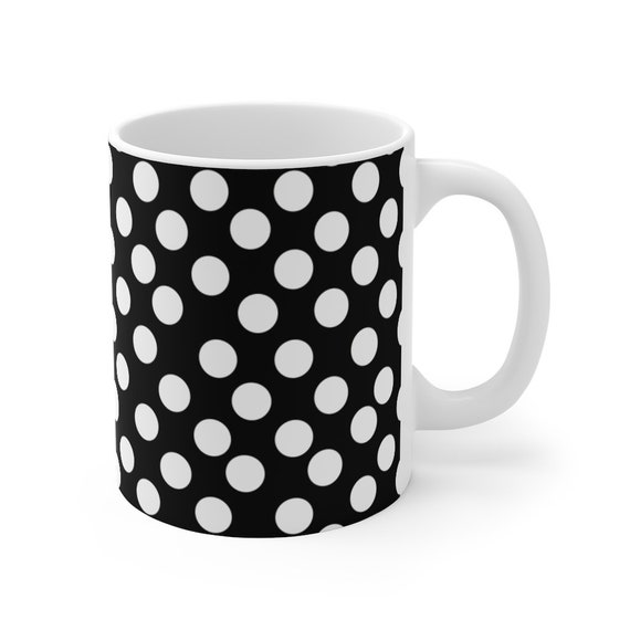 Black with White Polka Dots Mug 11oz