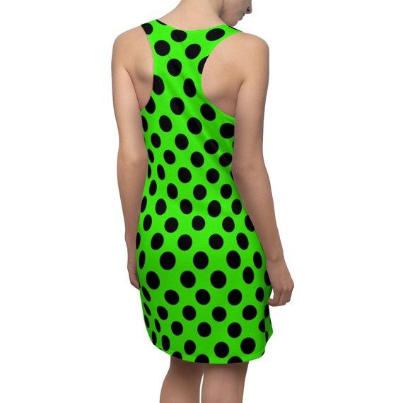 Lemon-Lime with Black Polka Dots Racerback Dress