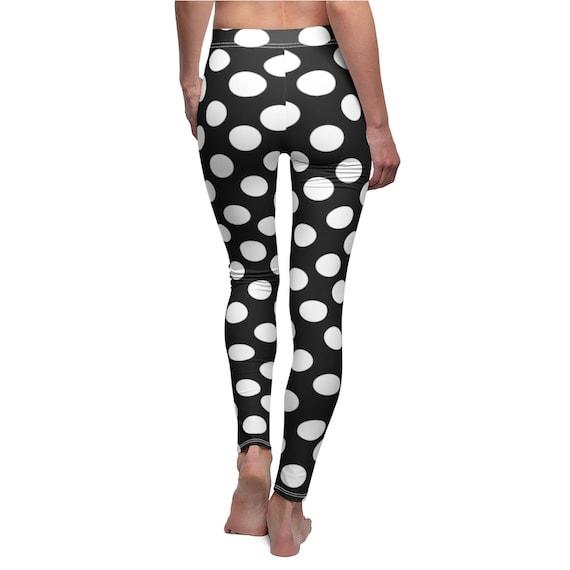 Black with White Polka Dots Skinny Casual Leggings