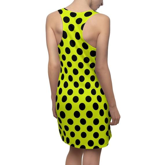 Yellow with Black Polka Dots Racerback Dress