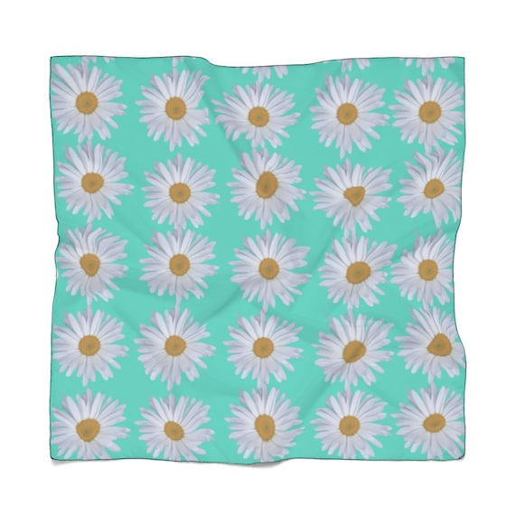 Turquoise & Daisies Print Poly Scarf