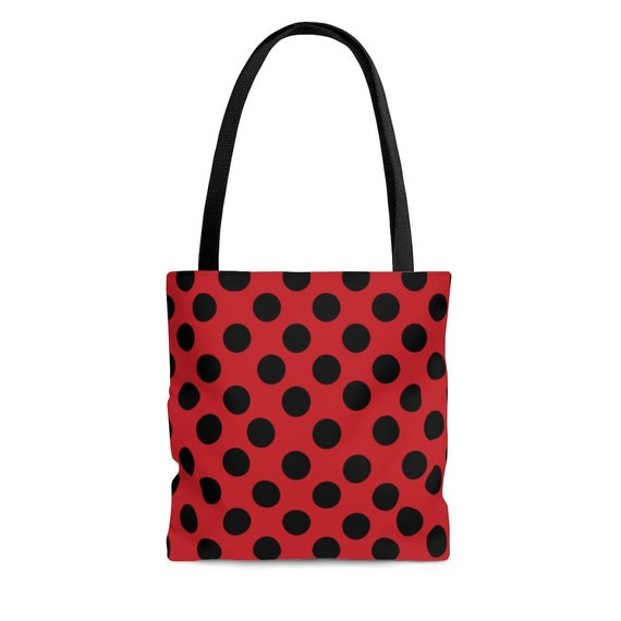 Flame Red with Black Polka Dots - Tote Bag