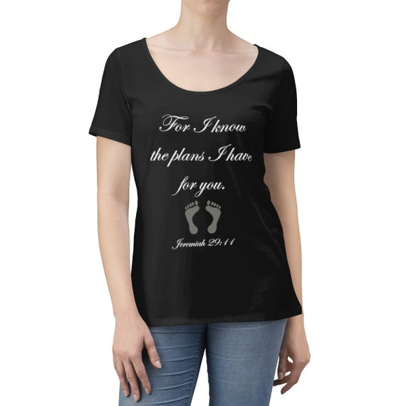 For I know the plans I have for you - Women's Scoop Neck T-shirt White lettering