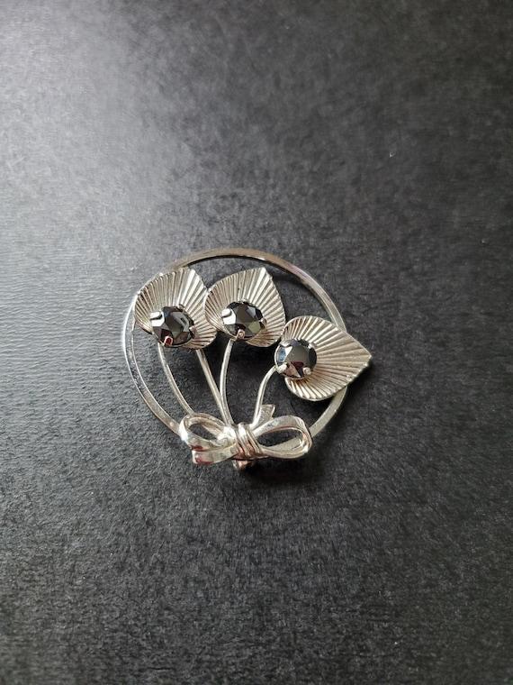 Vintage Gold-tone Enamel Rose Pin