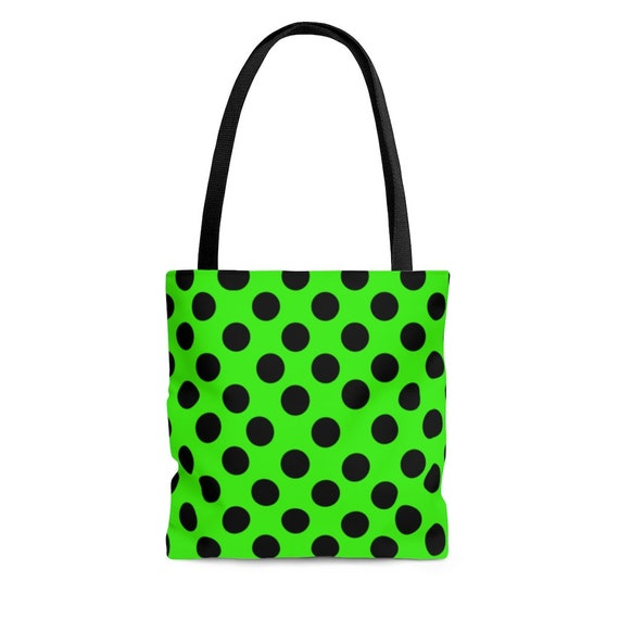 Lemon-Lime with Black Polka Dots  - Tote Bag