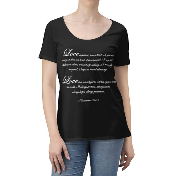 Love is patient - Women's Scoop Neck T-shirt White lettering