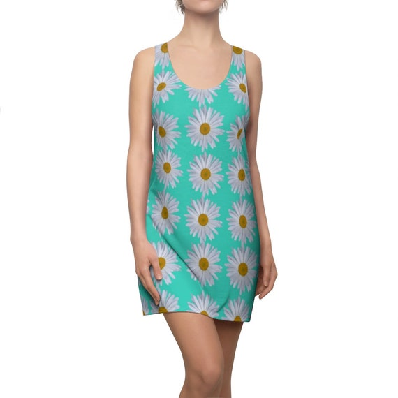 Turquoise & Daisies Racerback Dress