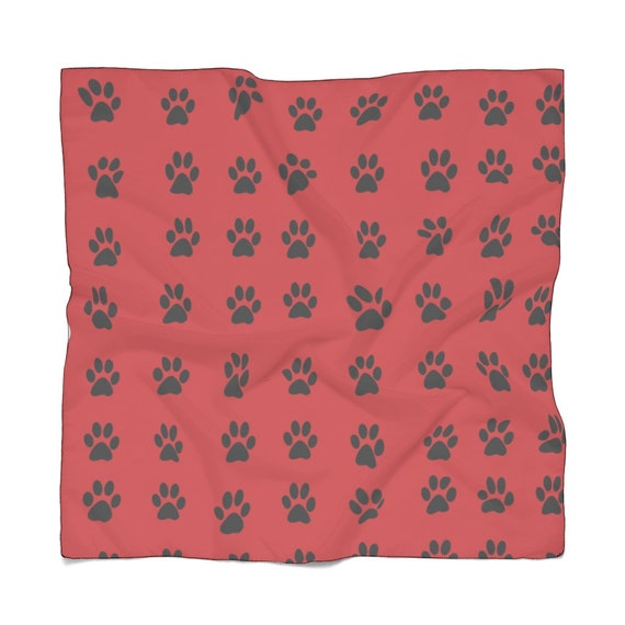 Flame Red with Black Paw Print Poly Scarf