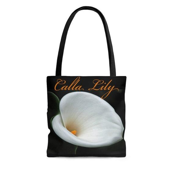 Calla Lily (Orange Lettering) Tote Bag