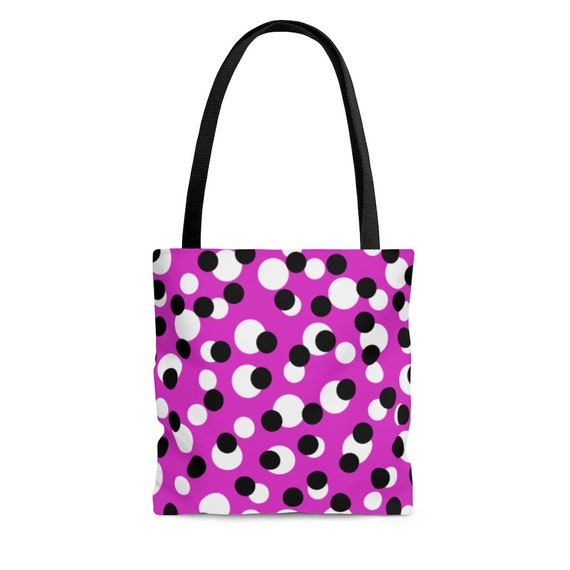 Pink with White and Black Polka Dots - Tote Bag